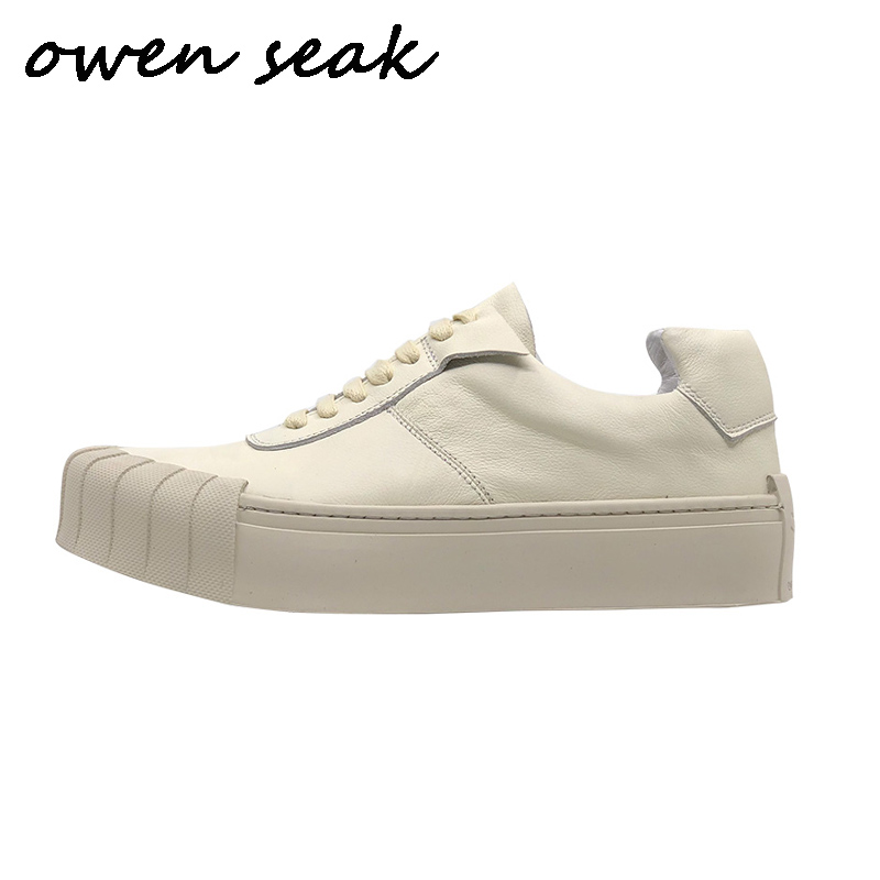 2019 Owen Seak Men Casual Shoes Luxury Men Sneaker Trainers Genuine Leather Loafers Spring Male Lace