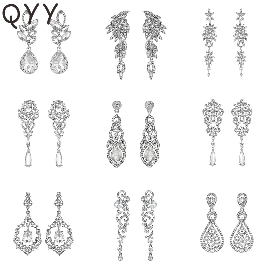 QYY Fashion Austrian Crystal Wedding Water Drop Earrings for Bride Bridesmaids Alloy Bridal Party Earrings