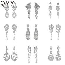 QYY Fashion Austrian Crystal Wedding Water Drop Earrings for Bride Bridesmaids Alloy Bridal Party