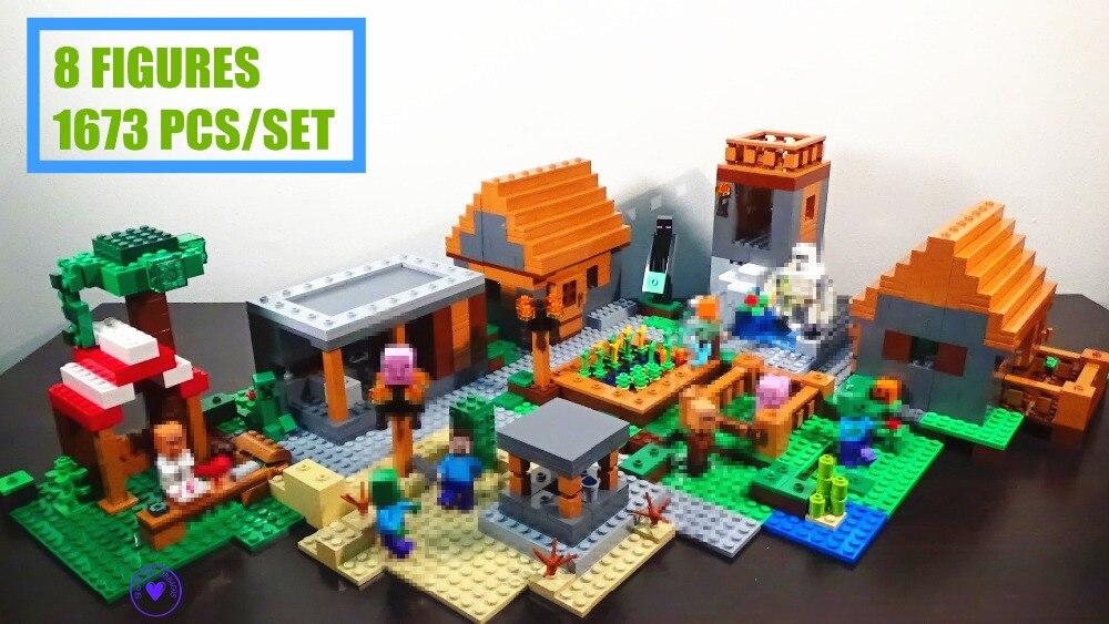 Nouveau Mon mondes Village Minecraft fit legoings Minecrafted chiffres Modèle blocs de construction briques diy 21128 jouets enfant cadeau