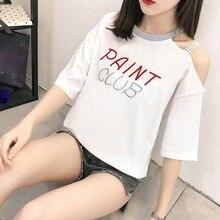 2019 Summer Women T-shirt Fashion Sling Off Shoulder Cotton Embroidered T-Shirt Letter Print Short Sleeve Women's T-Shirt letter print drop shoulder t shirt