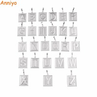 Anniyo 26 PIECE Wholesale Silver Color Letter Initial ONLY PENDANT For Men Women English Alphabet Charm