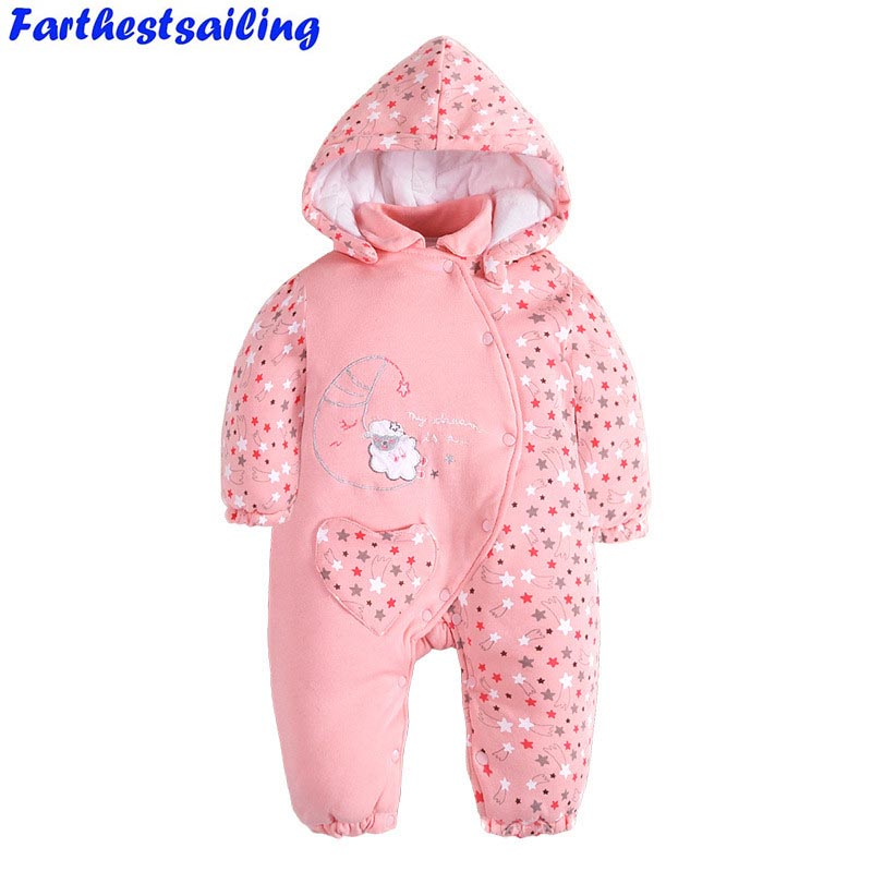 Baby Rompers Winter Thick Warm Baby Toddler Girls Newborn Hooded Jumpsuit Kids Clothing Baby Costume Bebe Clothes Baby Products