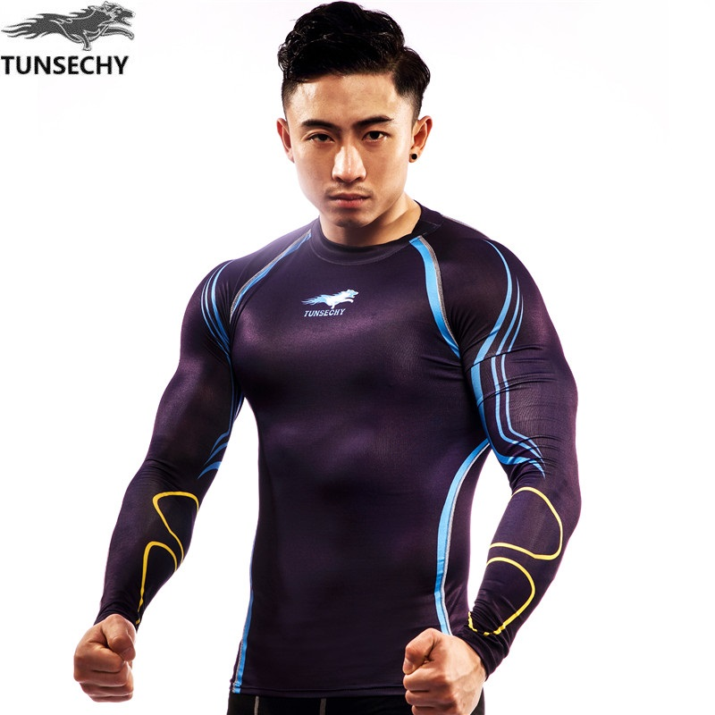 TUNSECHY Men's Compression Tights   T     Shirt   Anti-UV Bicycle Fitness tees Long Sleeve Moisture Wicking Quick-drying   T  -  shirts