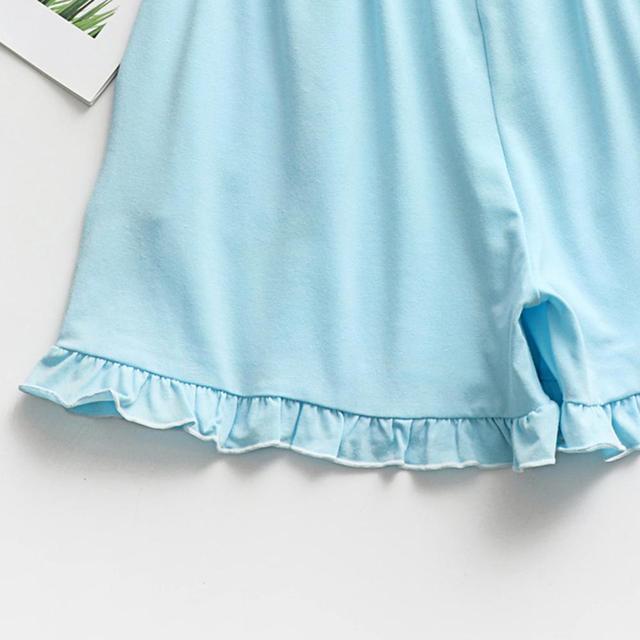 Kobiety lato piżamy bielizna nocna Homewear szaty szorty piżamy piżamy spodnie domu solidna moda 2019 nowy sen szorty niebieski tanie i dobre opinie ZHDAOR Poliester Stałe D712 Elastyczny pas WOMEN Spać dna Suknem Polyester