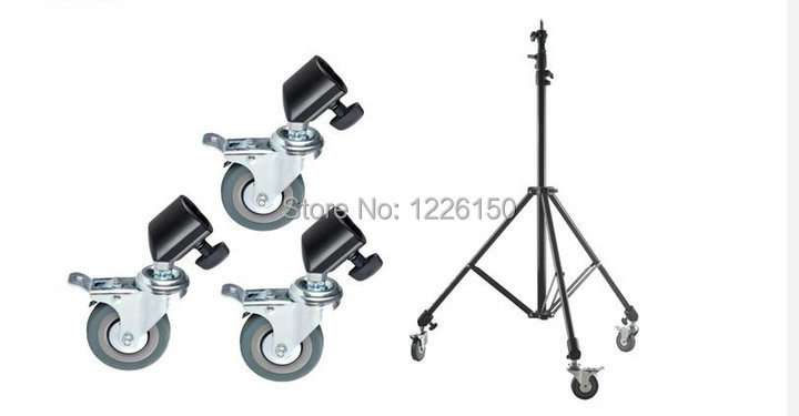 Free Shipping 22mm 3PCS Photo Studio Heavy Duty Universal Caster Wheel For Light Stands& ...