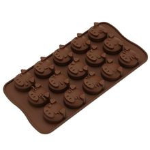 15-Cavity 3D Cute Kawaii Emoji Pig Shaped Silicone Cake Fondant DIY Mold Piggy Family Pudding Chocolate Mould Ice Cube Tray