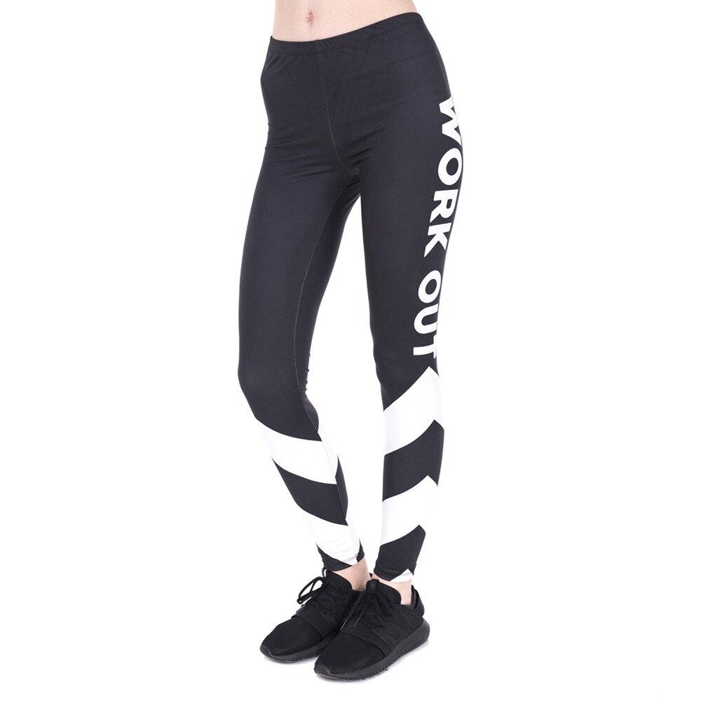 High Quality Woman Fitness Legins Work Out White Arrows Printing Work Out   Legging   Women High Waist Slim   Leggings