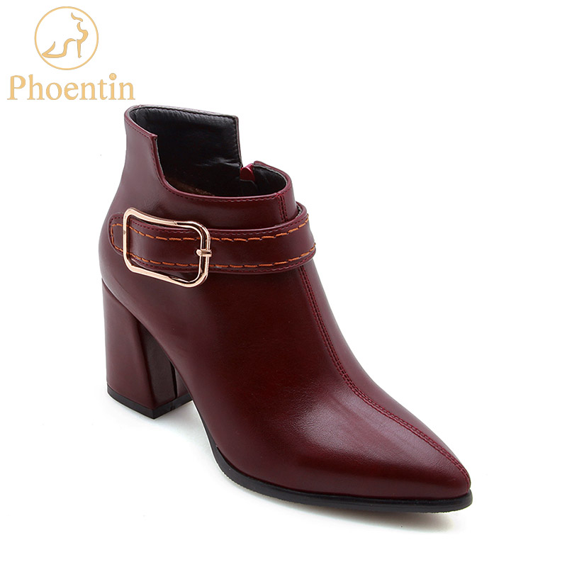 Wine red boots 2018 pu leather booties womens shoes with zipper solid color buckle martin boots zip plus size PHOENTIN PH060 plus size oblique zipper color block hoodie