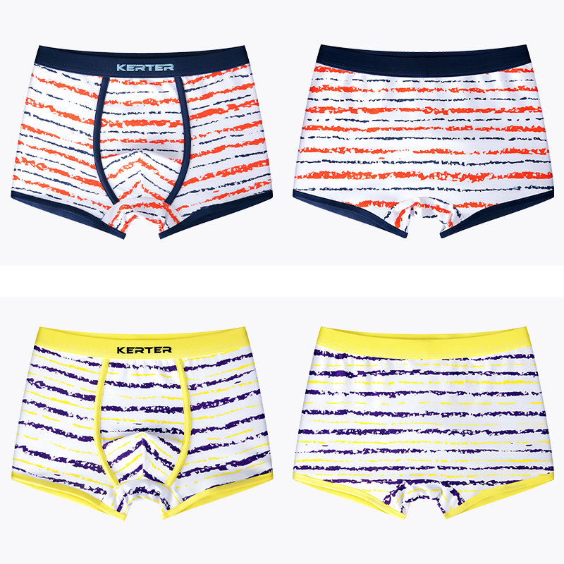 4Pcs/Pack Boxer Underwear for Boys Striped Children Cotton Panties Shorts Teenage Breathable Underpants Young Underwear Boys 16T 3