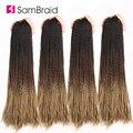 SAMBRAID Сенегальские скрученные волосы, вязанные крючком, 24 дюйма, косички, синтетические волосы для наращивания косичек, Омбре, плетеные воло...