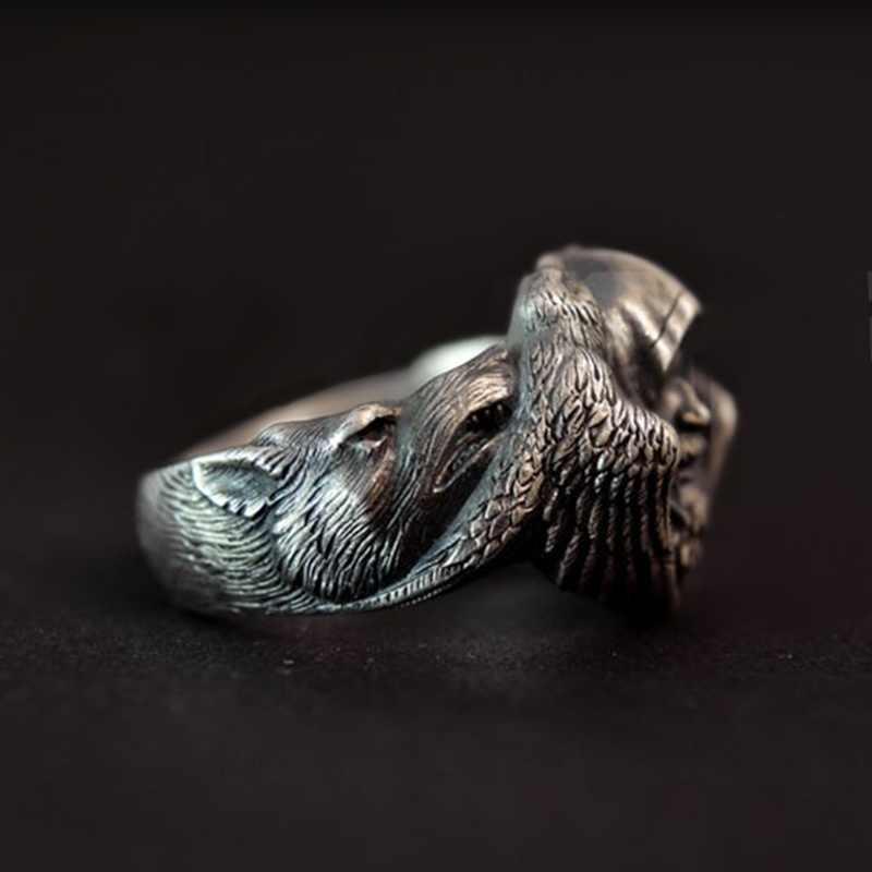 EYHIMD норвежская мифология Odin Raven серебряные кольца мужские Викинг-Волк кольцо из нержавеющей стали скандинавский амулет ювелирные изделия
