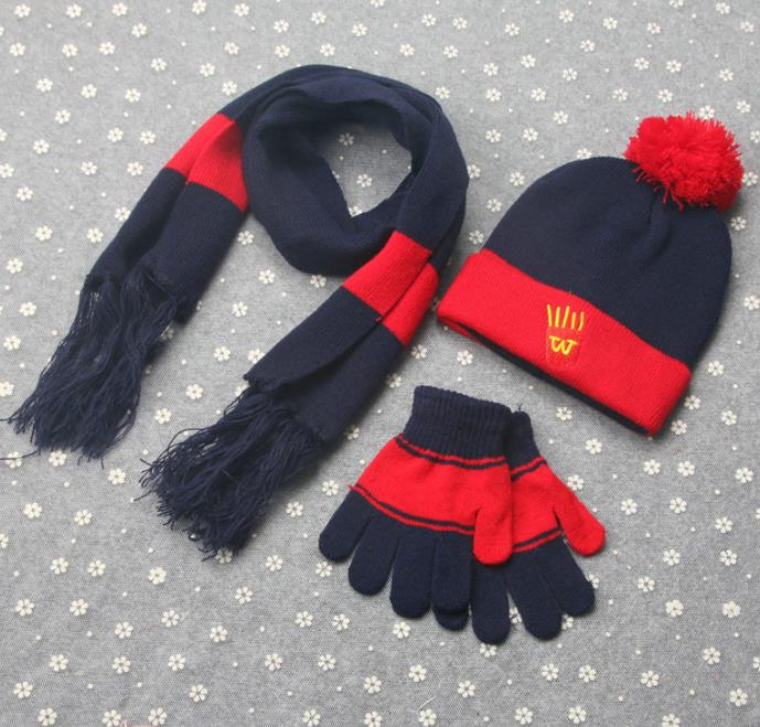Scarf and Glove Set Ribbon Knit Hat