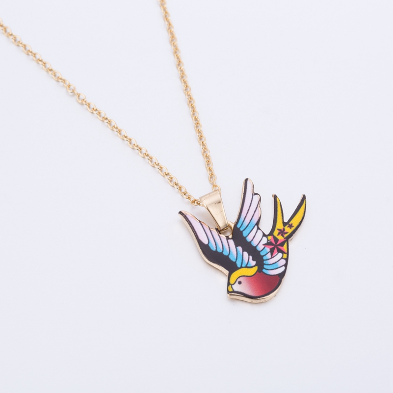 Jisensp Fashion Jewelry Long Chain Colorful Animal Necklace Enamel Pendant Lovely Swallow Necklace for Women Party Gifts OXL025