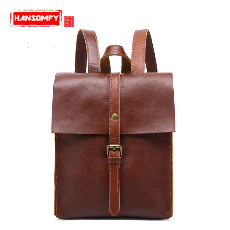 New Genuine leather Women backpack retro college wind lady shoulder bag first layer leather girl backpack travel Bags ланч бокс iris kids i9929 tn 15x15cm orange