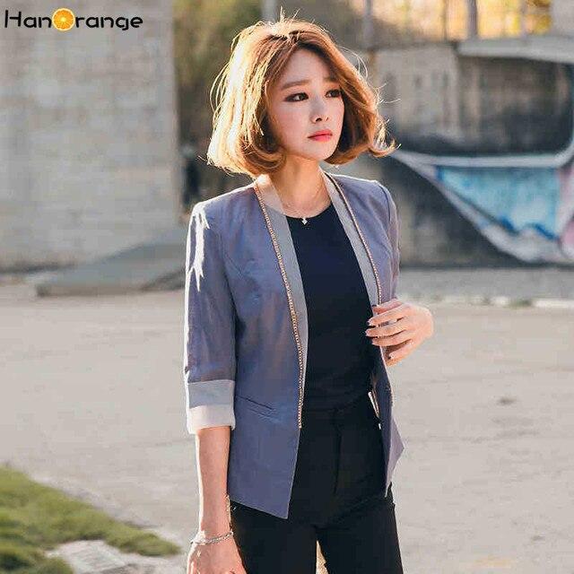 a3d238d2a7 HanOrange perles col OL bureau dame mince mince loisirs costume veste femmes  lin Blazer gris bleu