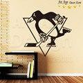Искусство новый дизайн дешевые украшения дома Питтсбург Пингвин логотип стикер стены съемный дом декор хоккей номер переводные картинки