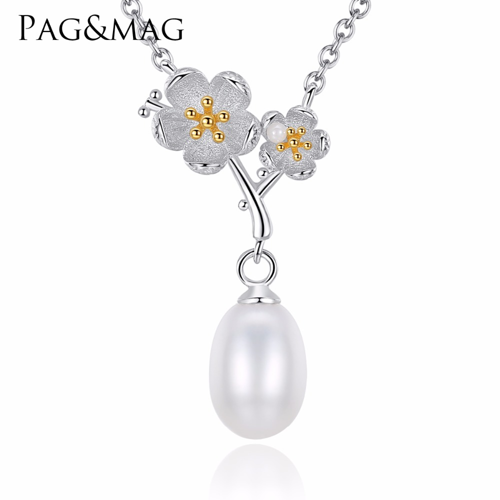 PAG MAG Brand Real 925 Sterling Silver Natural Pearl Handmade Fine Jewelry Fresh Clover Flower Pendant Necklace for Women ColarPAG MAG Brand Real 925 Sterling Silver Natural Pearl Handmade Fine Jewelry Fresh Clover Flower Pendant Necklace for Women Colar
