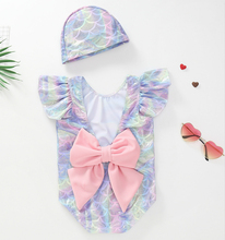 2PCS Mermaid Princess Halter Bikini One Piece Swimsuit Kids Baby Girl Bathing Suit Swim Bowknot With Hat