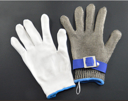 Image 2 - Anti cutting gloves Stainless steel grade 5 steel wire plus PE steel ring iron gloves Anti cutting metal slaughter woodworker-in Safety Gloves from Security & Protection