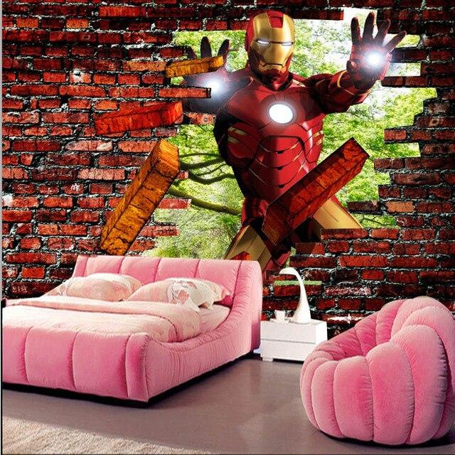 Iron Man Brick Photo Wallpaper Avengers Wallpaper Custom 3D Wall Murals  Kids Boys Bedroom Corridor Room Part 80