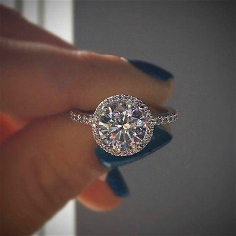 Luxury Female Crystal Stone Ring Women 18KT Rose Gold/925 Silver Filled Jewelry Vintage Wedding Bands Promise Engagement Rings