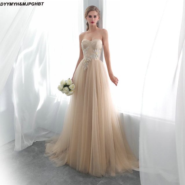 Elegant Champange Tulle Wedding Reception Dresses Sweetheart A Line
