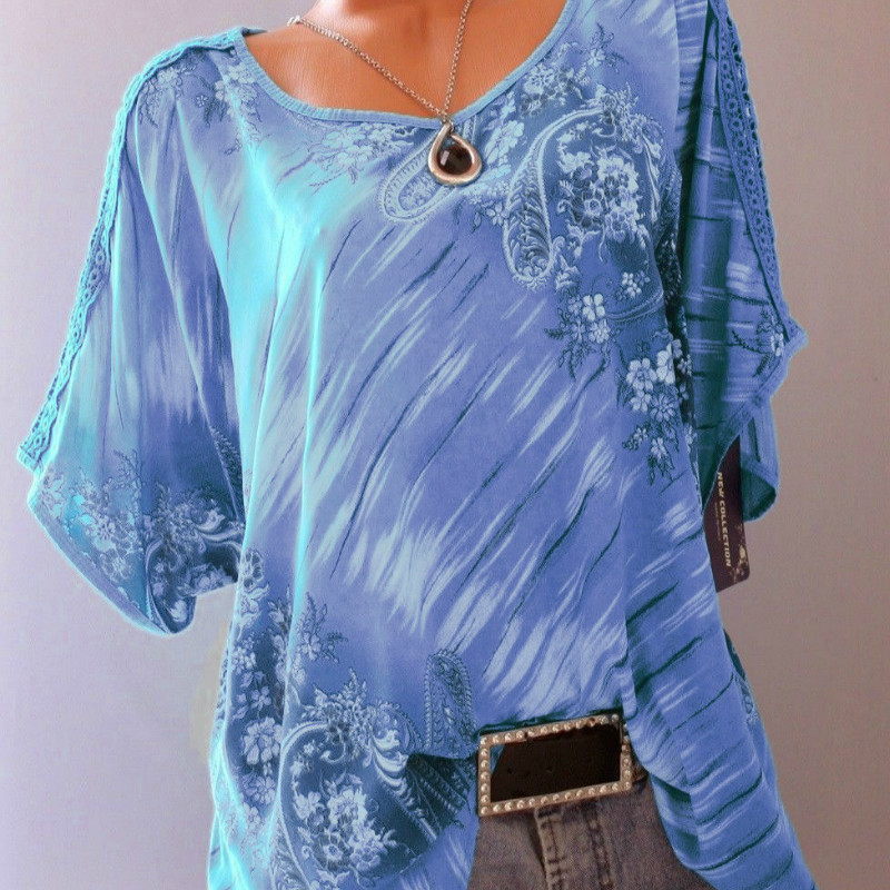 Women's Wear 2019 New Lace Print O Neck T-shirt Short Sleeve Loose Shirts Summer Tops Fashion Casual Plus Size T-Shirts 5XL