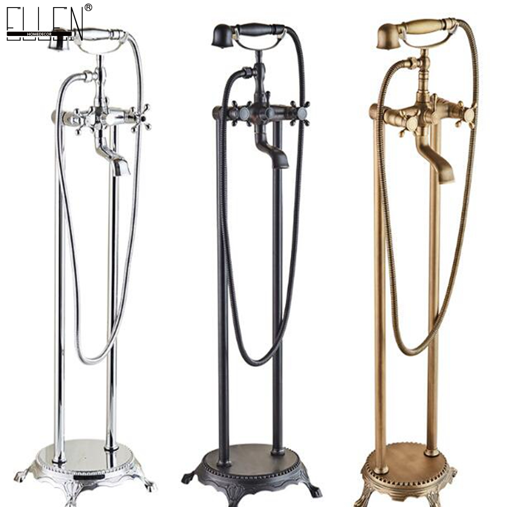 Antique Bronze Flooring Bath Faucet with Hand shower Floor Stand Faucets Bathtub Water Mixer free shipping antique bronze bath craved floor drain bath washing drainer