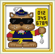 The police cat cross stitch kit cartoon animal small pictures hand sewing set stitching embroidery DIY handmade needlework plus