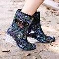 Primavera inverno 6 cm sobre high heel mid-calf botas mulheres botas de chuva cunha sapatas da escola sólidos de borracha à prova d' água escola botas 36-40