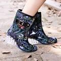 Spring winter 6cm about high heel mid-calf boots women wedge rain boots school shoes solid rubber waterproof school botas 36-40