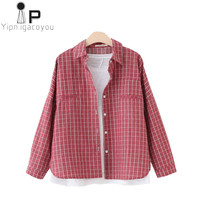 Harajuku Summer Tops Women Shirt 2019 Plus size Loose Vintage Cardigan Plaid Ladies Long sleeve Ladies Tops Clothes Streetwear