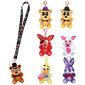 Five Nights At Freddy's plush pendant + phone Neck Straps freddy fazbear bear plush Mobile Phone Straps keychain FNAF toys