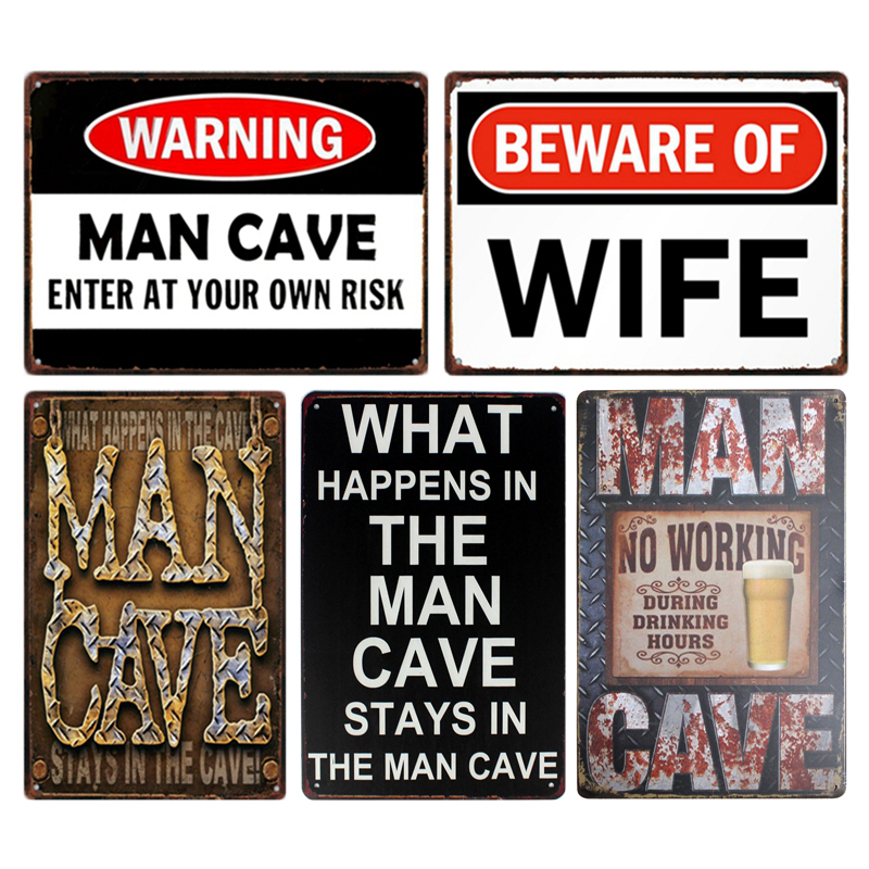 Man Cave Warning Tin Sign Wall Decor Metal Sign Bar Pub ...