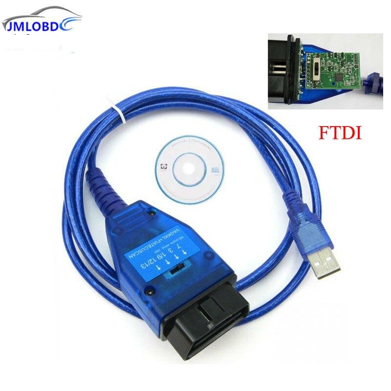 2018 con Chip FTDI Auto Obd2 Cable de diagnóstico para VAG USB 409 VAG KKL Fiat VAG interfaz USB Auto escaneo Ecu Herramienta 4 vías interruptor