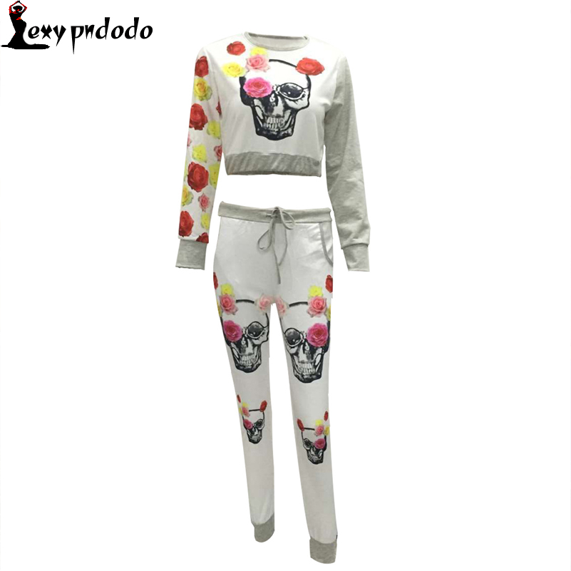 Autumn Womens 2 Pieces Sets Long-sleeved Pullover +Pants Printed Cute Casual Sheath Suit Tracksuit For Women Halloween Costume