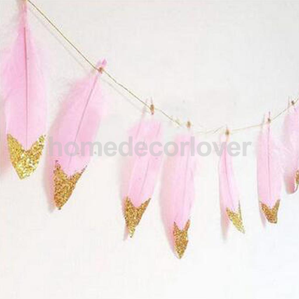 Lovely Boho Gold White Silver Dipped Feather Bunting Tassel Garland Wall Hanging Decor-pink