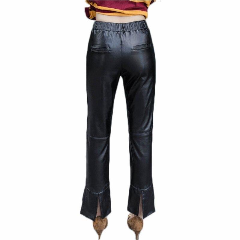 Luxe Dame Slim Streetwear Peau Pantalon Elastique Naturel Femmes Nouveau Pantalons Pattes Cuir En Véritable Harajuku Mouton D'éléphant Taille Black De n8k0ONwPX