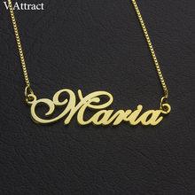 e30e6cbbcdba Caja de oro cadena placa gargantilla mujeres hombres personalizada nombre  Collar personalizado joyería de acero inoxidable colga.