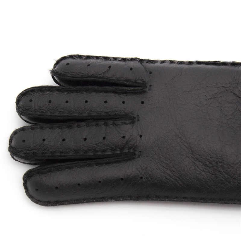 2018 冬スキー手袋本物の羊皮の革のウールの毛皮手袋暖かい冬の女性の屋外手袋女の子手袋ミトン女性のための