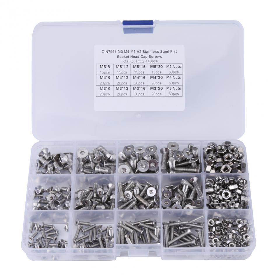 Tornillos Con Tuercas Surtido Kit 304 Tornillos y Tuercas de Acero Inoxidable M5 Acero Inoxidable Hexagonal Tornillos Con Caja de Almacenamiento