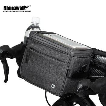 Bolsa de bicicleta resistente al agua rinowalk, bolsa para manillar con pantalla táctil, bolsa para tubo delantero, bolso de hombro multifunción para cámara de teléfono, contenedor GPS