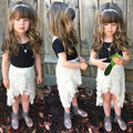 Cute Fashion Baby Girl Kid Round Neck Top White Lace Skirt 2Pcs Outfit Set Dress 2016 New Year Gift