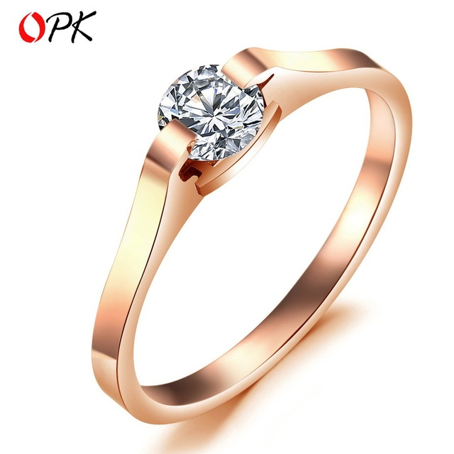 OPK JEWELRY Top Quality  316LStainless Steel Ring, Women's Rose Gold Plated Wedding Ring, Romantic Design Free Shipping 371
