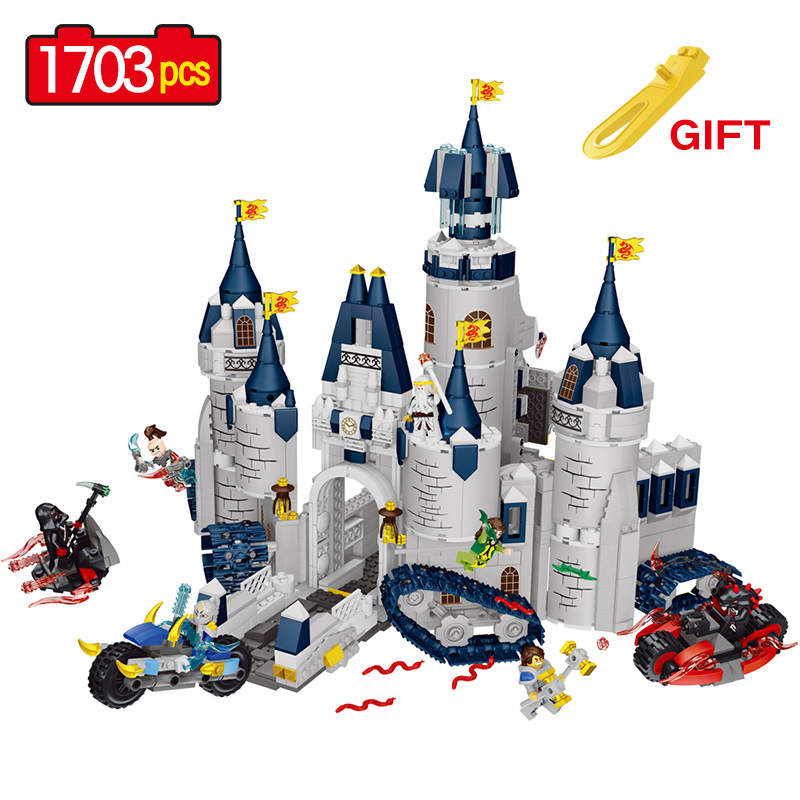 1703PCS Castle Knight Dragon Building Blocks Compatible LegoINGLY Knight Motorcycle Belfast Veigar Classic Action Figures Toys castle and knight
