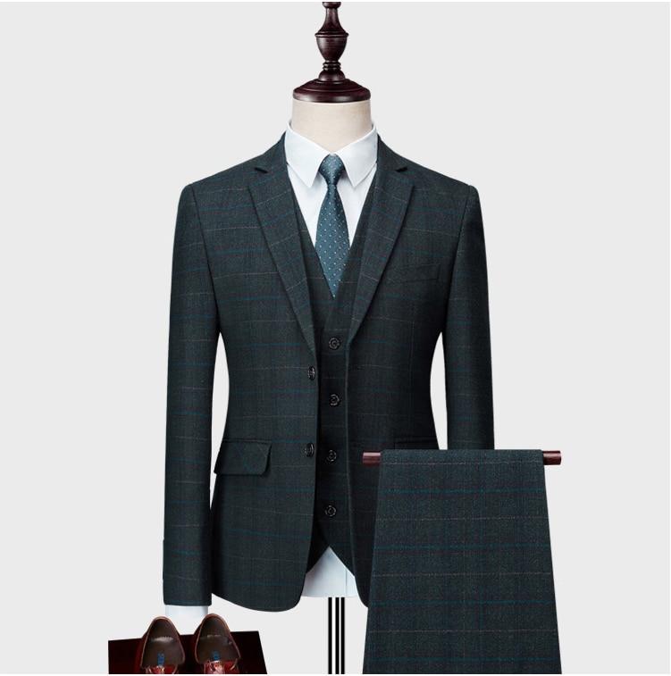 Jackets+ Pant+ Vest)2019Men's Slim Fit 3 Piece Suits Single Breasted Plaid Blazer  Size Green Khaki Blue Dress Weddingume Homme