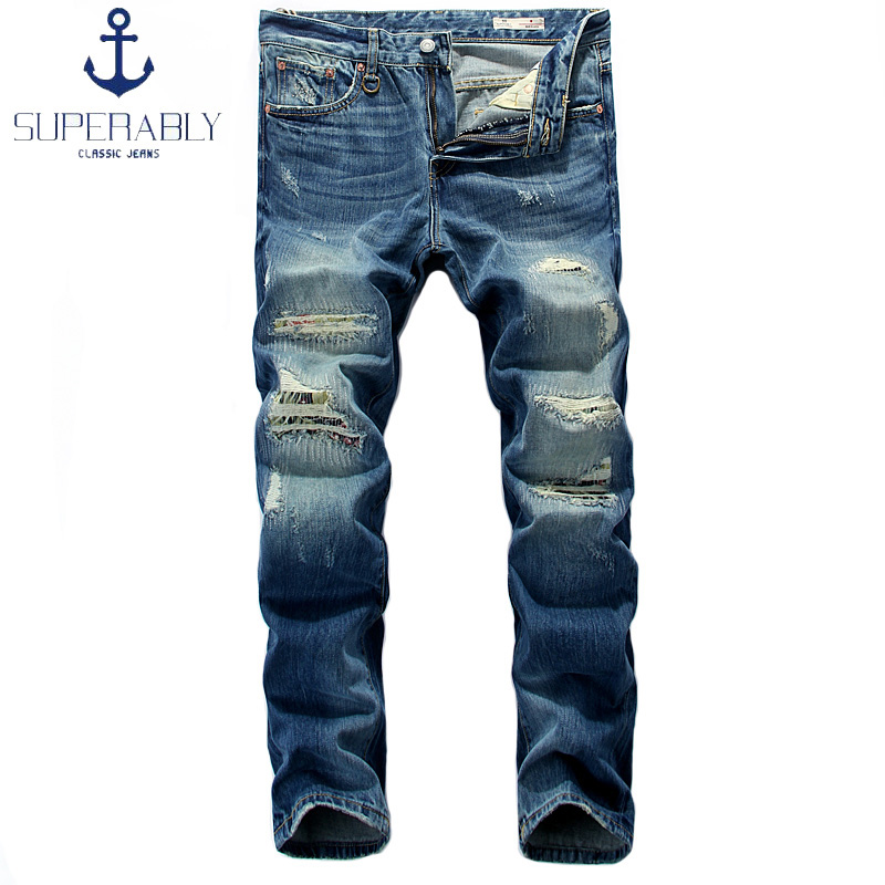 Blue Color Denim Mens Jeans Superably Brand Destroyed Ripped Jeans Men's Straight Fit Vintage Retro Biker Jeans Men Casual Pants 2017 fashion mens patch jeans slim straight denim biker jeans trousers new brand superably jeans ripped dark jeans men u329