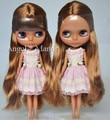 Nude Blyth Doll, gold hair,Dark skin, big eye doll,Fashion doll Suitable For DIY Change BJD , For Girl's Gift