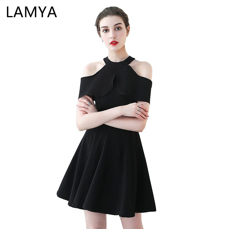 LAMYA Black Short A Line   Prom     Dresses   Simple Halter Evening Party   Dress   Ladies Elegant Knee Length Robe De Soiree